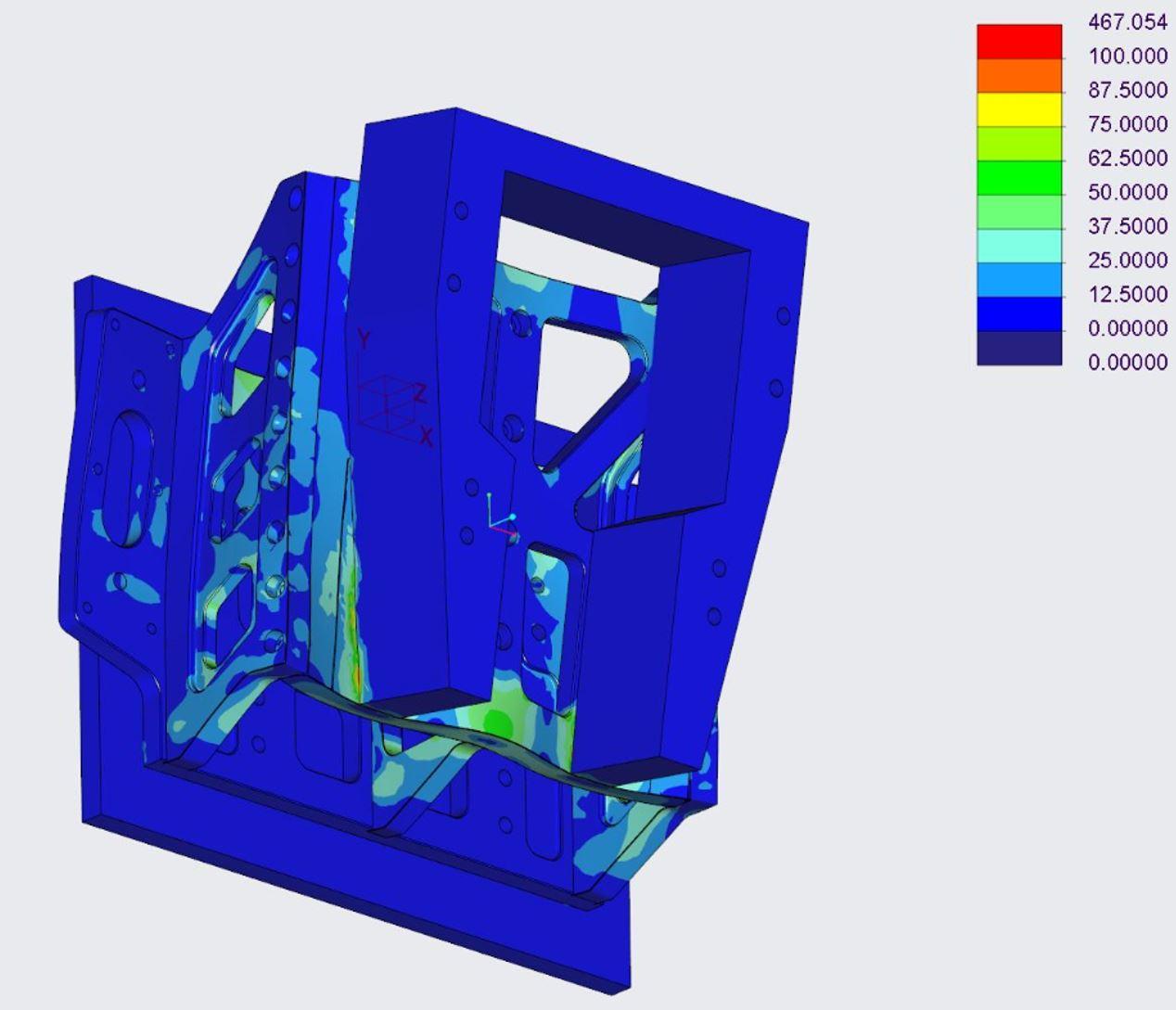 Ob ein Design funktioniert, prüfen die Konstrukteure zunächst mit den CAD-Integrierten Simulations-Werkzeugen. Für genauere Ergebnisse greifen die Spezialisten auf Ansys-Software zurück. (Bild: OP-Shipp Module GmbH)
