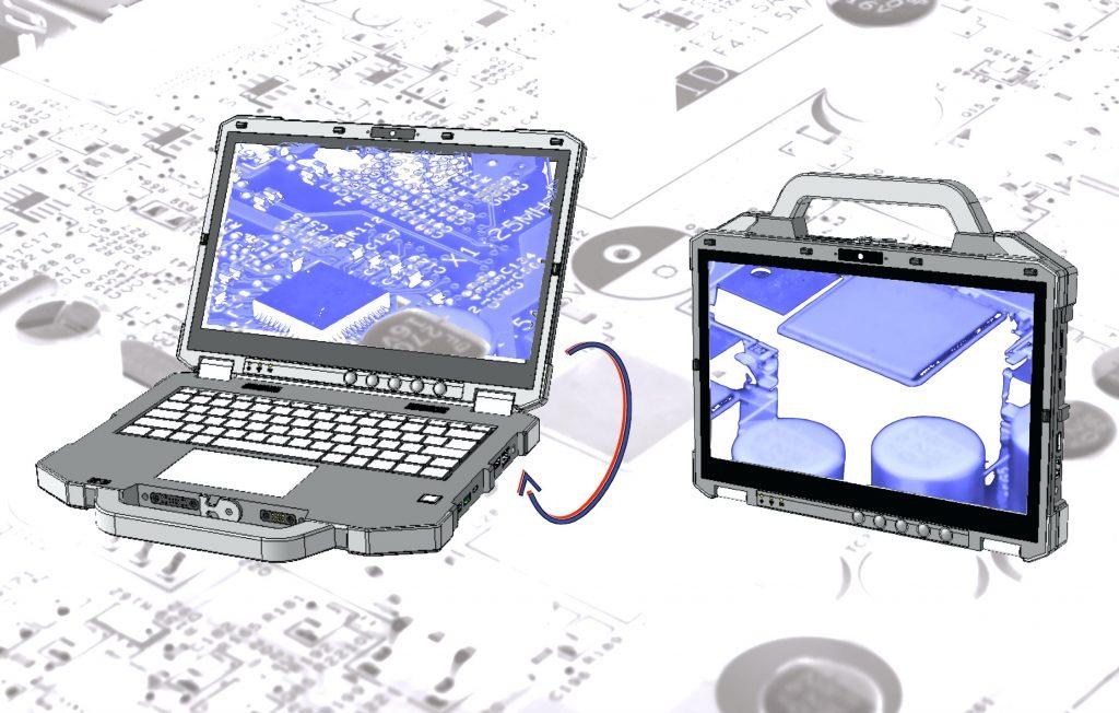 Butterfly-Design: Aufgeklappt ein fully-rugged-Notebook, geschlossen ein Tablet-IPC. (Bild: TL Electronic GmbH)
