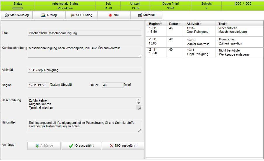 BDE-Dialog zu Instandhaltungsarbeiten (Bild: Cosmino AG)