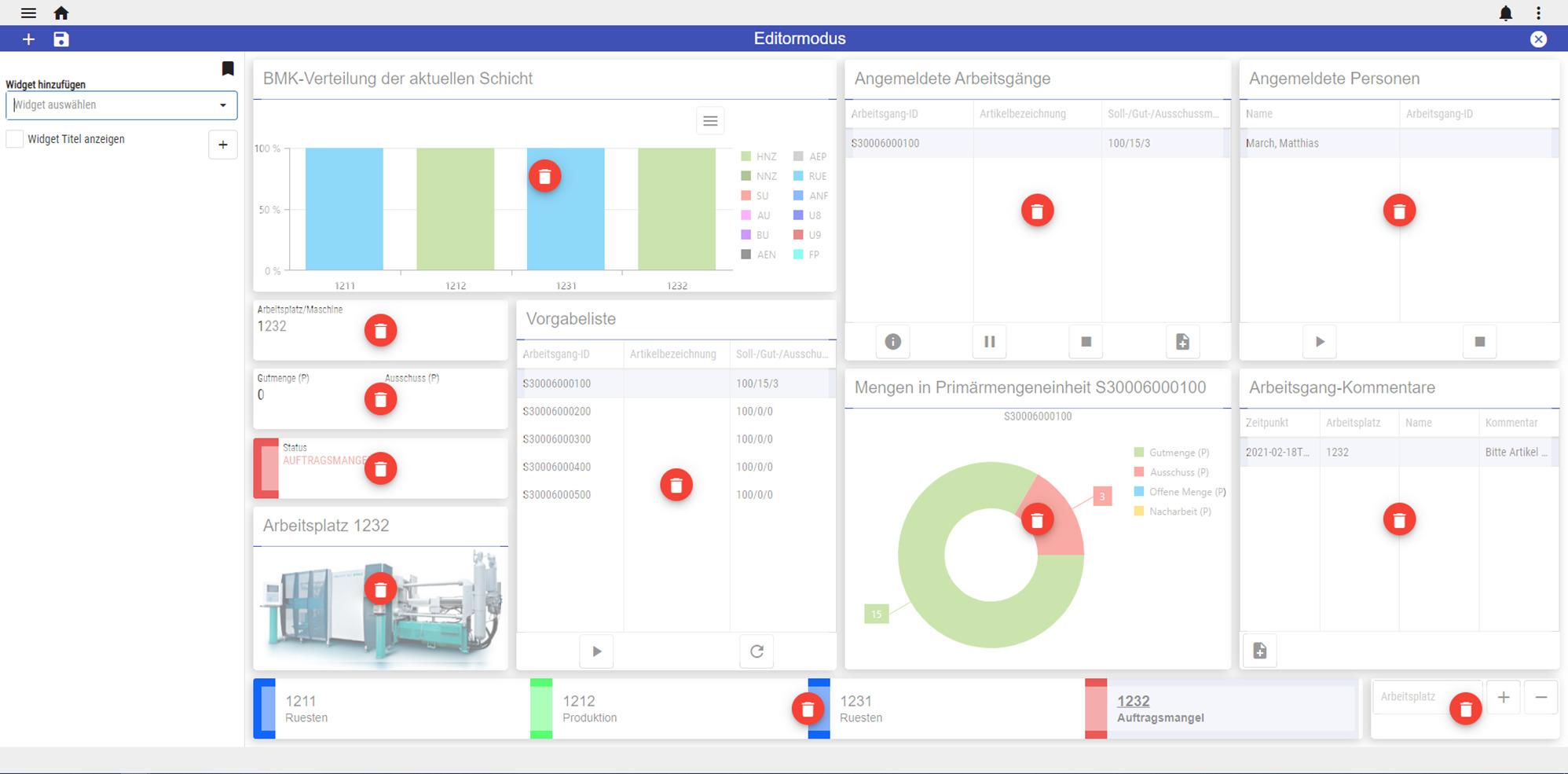 Der responsive Web Client von Hydra X lässt sich über Widgets individuell gestalten. (Bild: MPDV Mikrolab GmbH)