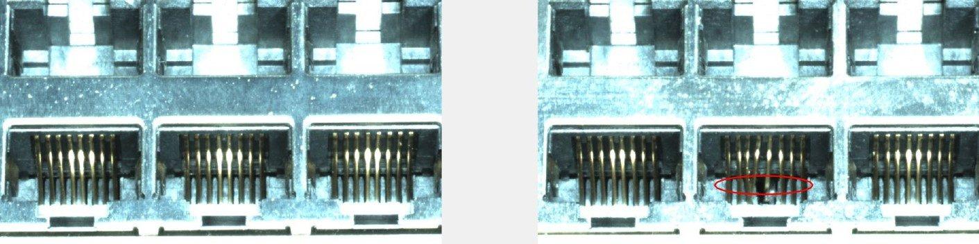 Schwer zu inspizieren - verbogene Pins eines Steckers (Bild: ATEcare Service GmbH &; Co. KG)
