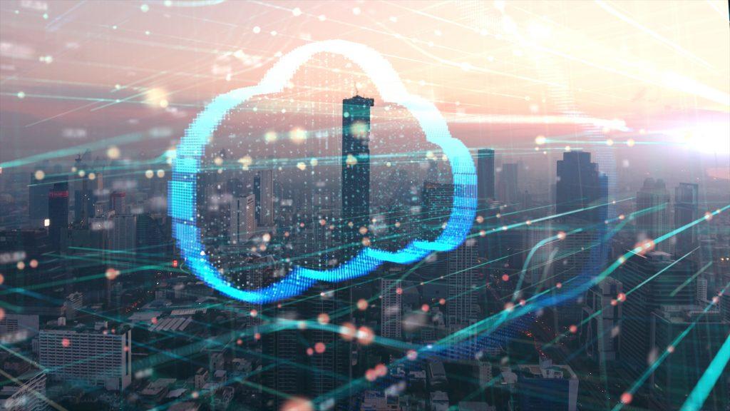 Double exposure the cityscape and clouds technology,Futuristic computer digital Abstract  background (Bild: ©ekaphon/AdobeStock.com)