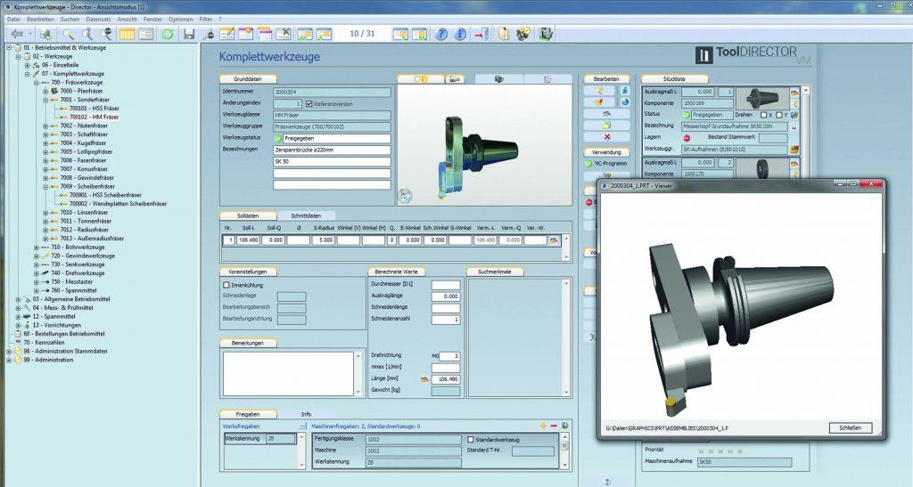 Coscom ToolDirector verwaltet die Einzelkomponenten und Komplettwerkzeuge digital. (Bild: Zollern BHW Gleitlager GmbH & Co. KG)