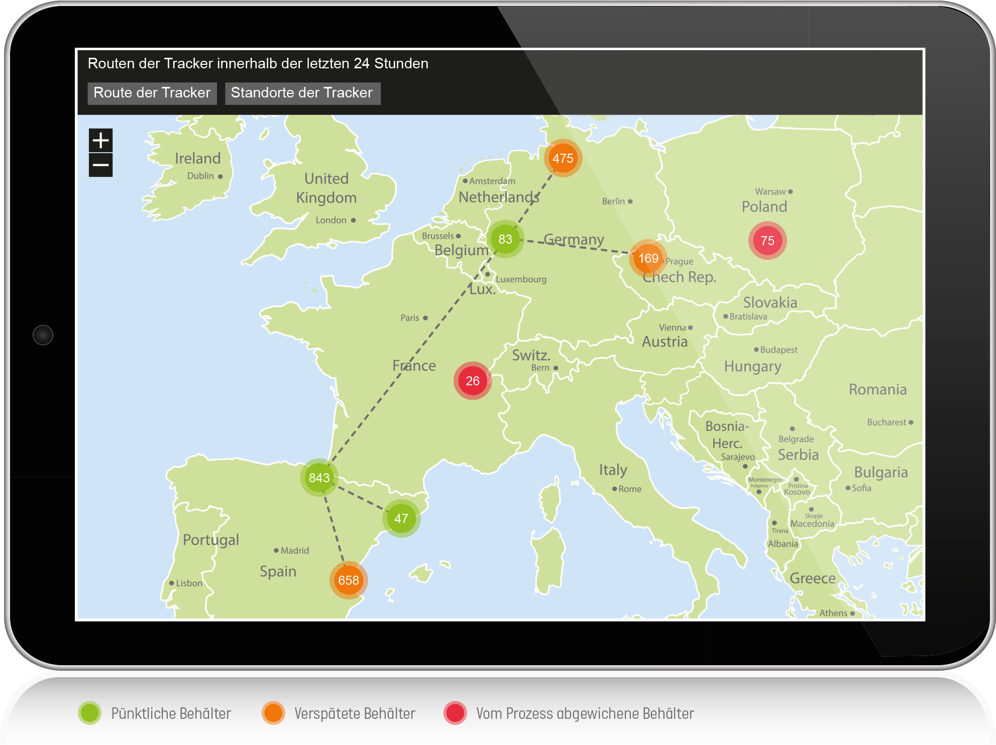 Route und Standorte der Tracker am Beispiel der Automobilproduktion. (Bild: Computacenter AG &Co. oHG)